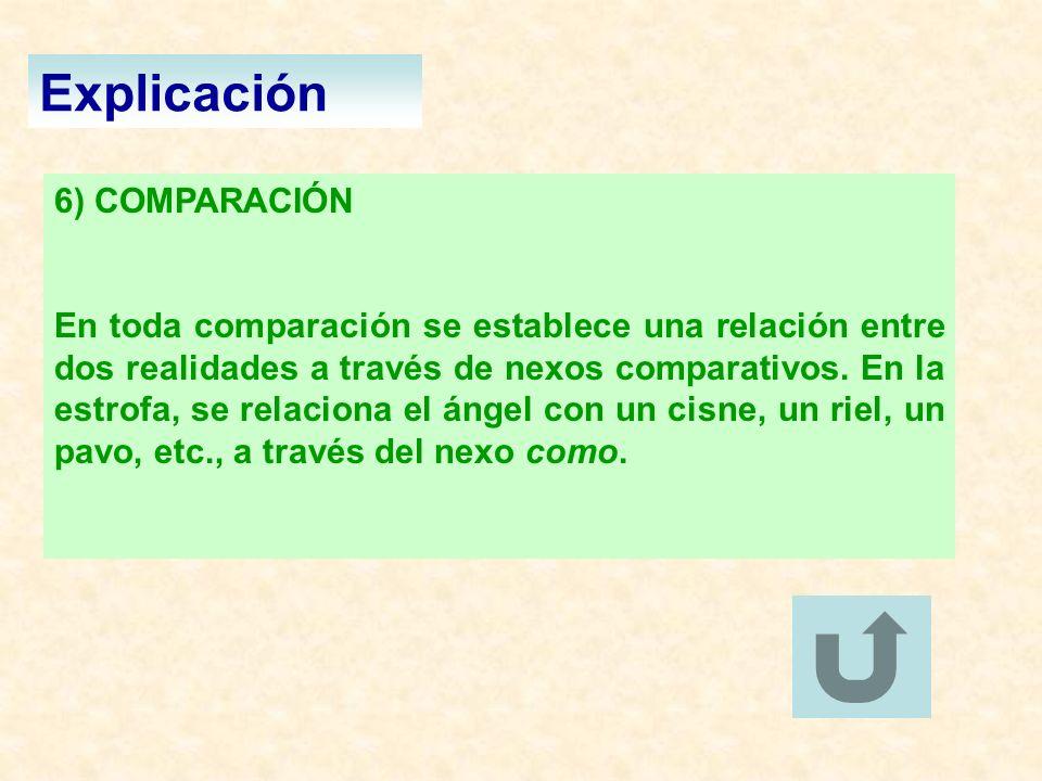 Explicación 6) COMPARACIÓN En toda comparación se establece una relación entre dos realidades a través de nexos comparativos. En la estrofa, se relaci