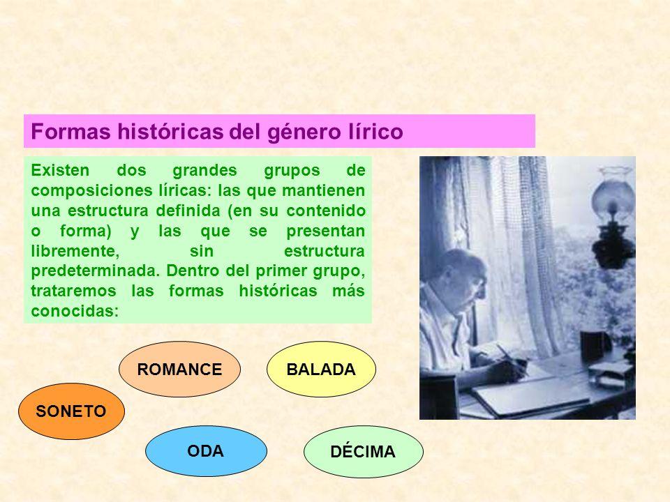 Formas históricas del género lírico Existen dos grandes grupos de composiciones líricas: las que mantienen una estructura definida (en su contenido o