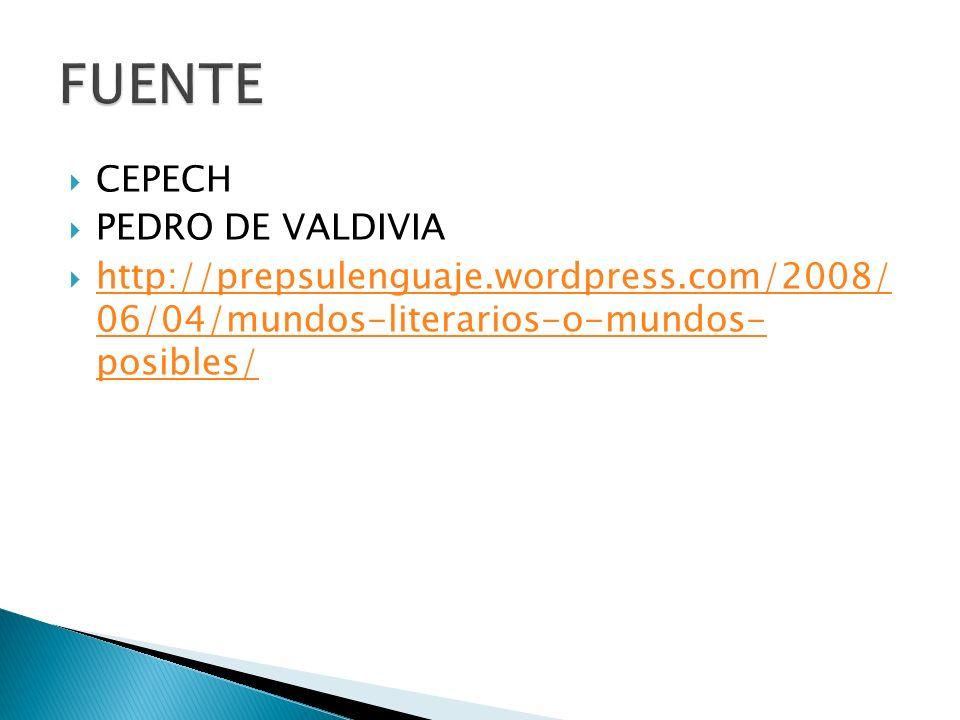CEPECH PEDRO DE VALDIVIA http://prepsulenguaje.wordpress.com/2008/ 06/04/mundos-literarios-o-mundos- posibles/ http://prepsulenguaje.wordpress.com/200