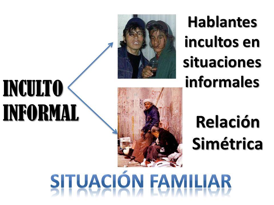 INCULTO INFORMAL Hablantes incultos en situaciones informales Relación Simétrica