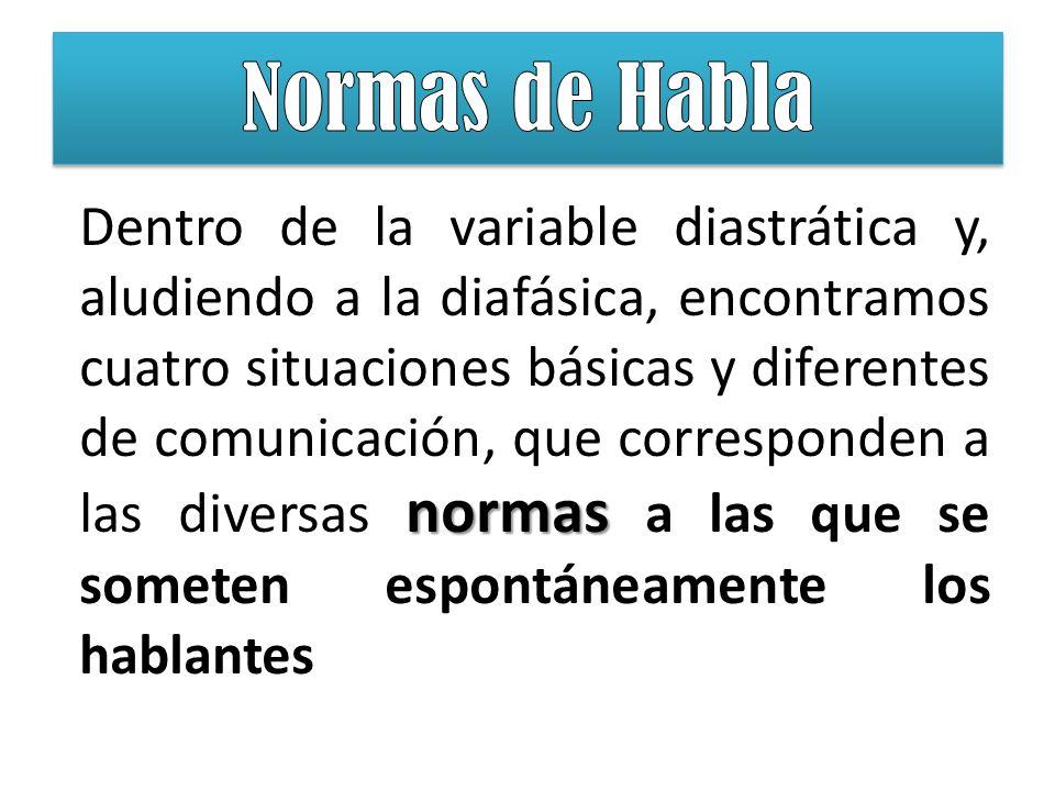 normas Dentro de la variable diastrática y, aludiendo a la diafásica, encontramos cuatro situaciones básicas y diferentes de comunicación, que corresp