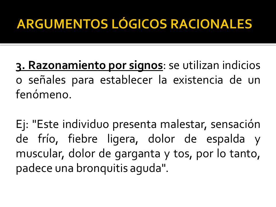 3. Razonamiento por signos: se utilizan indicios o señales para establecer la existencia de un fenómeno. Ej: