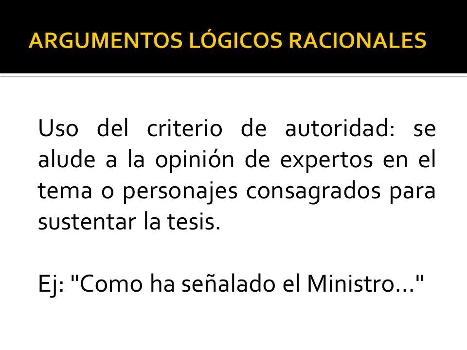 Uso del criterio de autoridad: se alude a la opinión de expertos en el tema o personajes consagrados para sustentar la tesis. Ej: