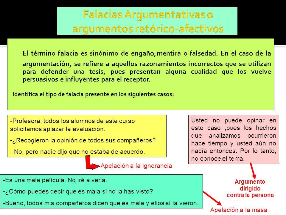 El término falacia es sinónimo de engaño,mentira o falsedad. En el caso de la argumentación, se refiere a aquellos razonamientos incorrectos que se ut