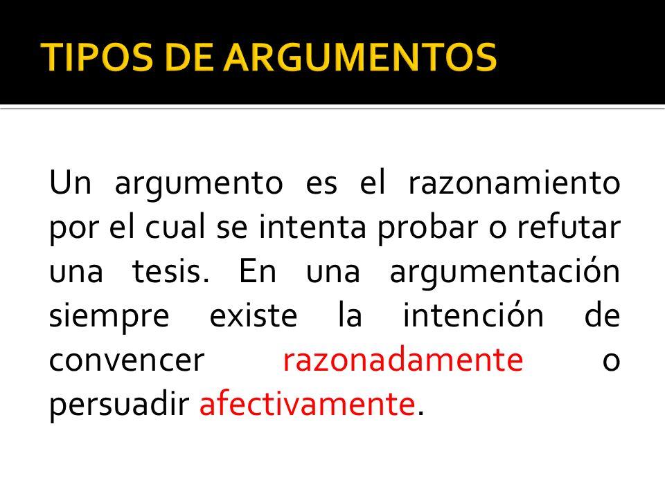 Un argumento es el razonamiento por el cual se intenta probar o refutar una tesis. En una argumentación siempre existe la intención de convencer razon