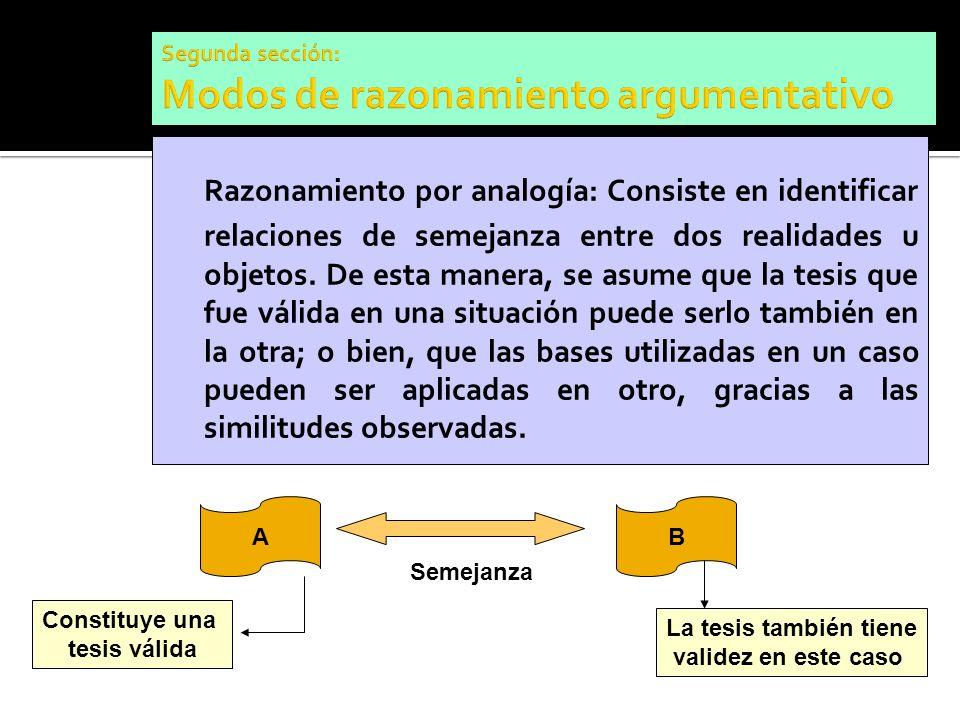 Razonamiento por analogía: Consiste en identificar relaciones de semejanza entre dos realidades u objetos. De esta manera, se asume que la tesis que f