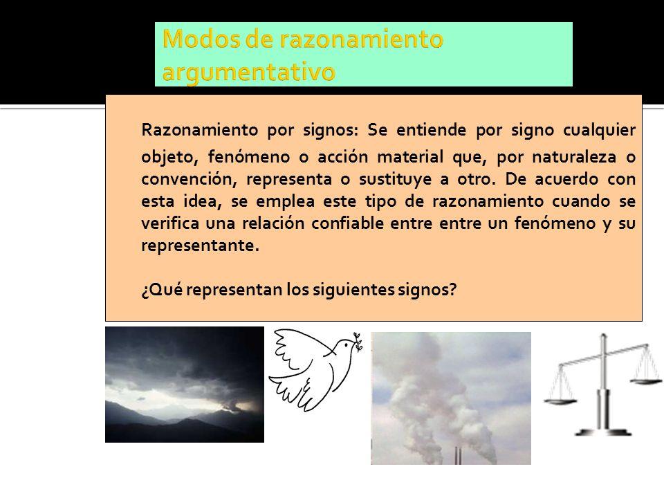 Razonamiento por signos: Se entiende por signo cualquier objeto, fenómeno o acción material que, por naturaleza o convención, representa o sustituye a