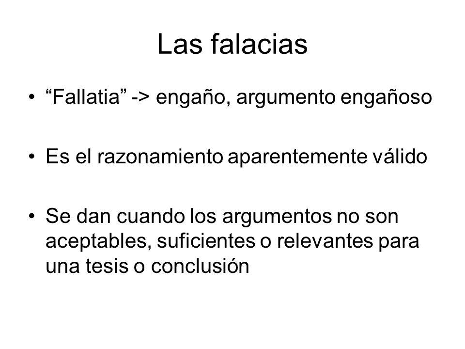 Las falacias Fallatia -> engaño, argumento engañoso Es el razonamiento aparentemente válido Se dan cuando los argumentos no son aceptables, suficiente