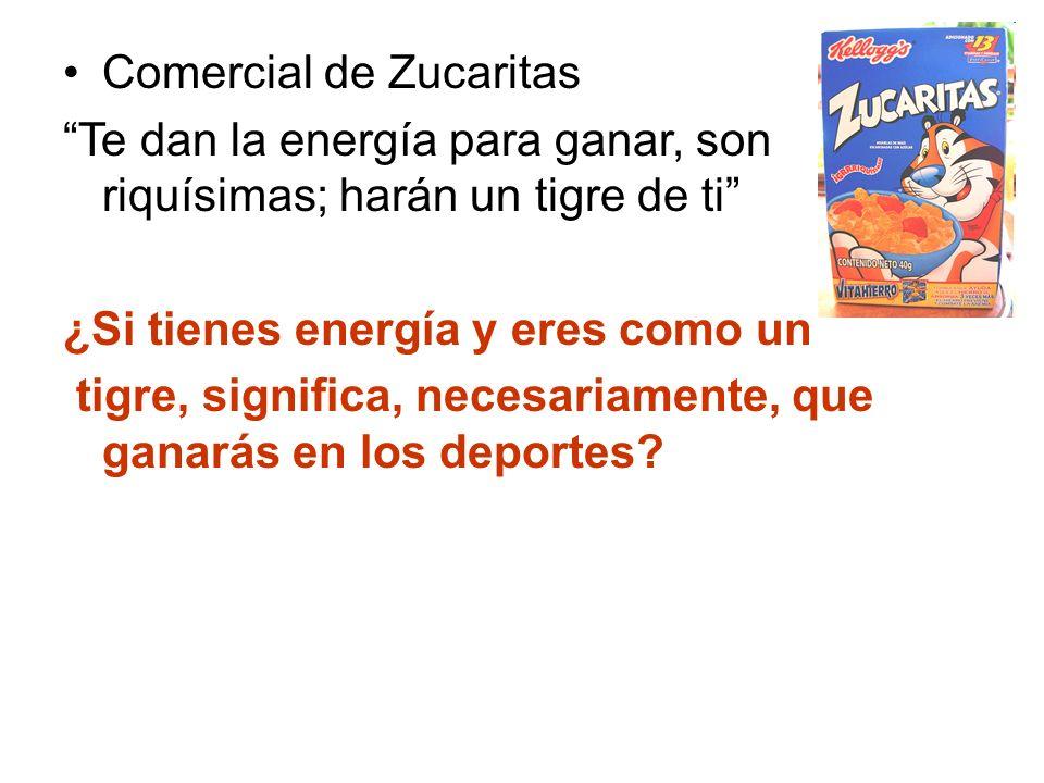 Comercial de Zucaritas Te dan la energía para ganar, son riquísimas; harán un tigre de ti ¿Si tienes energía y eres como un tigre, significa, necesari
