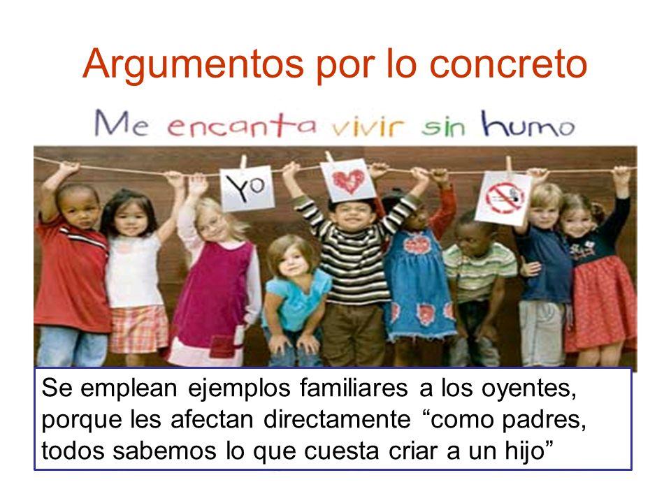 Argumentos por lo concreto Se emplean ejemplos familiares a los oyentes, porque les afectan directamente como padres, todos sabemos lo que cuesta cria