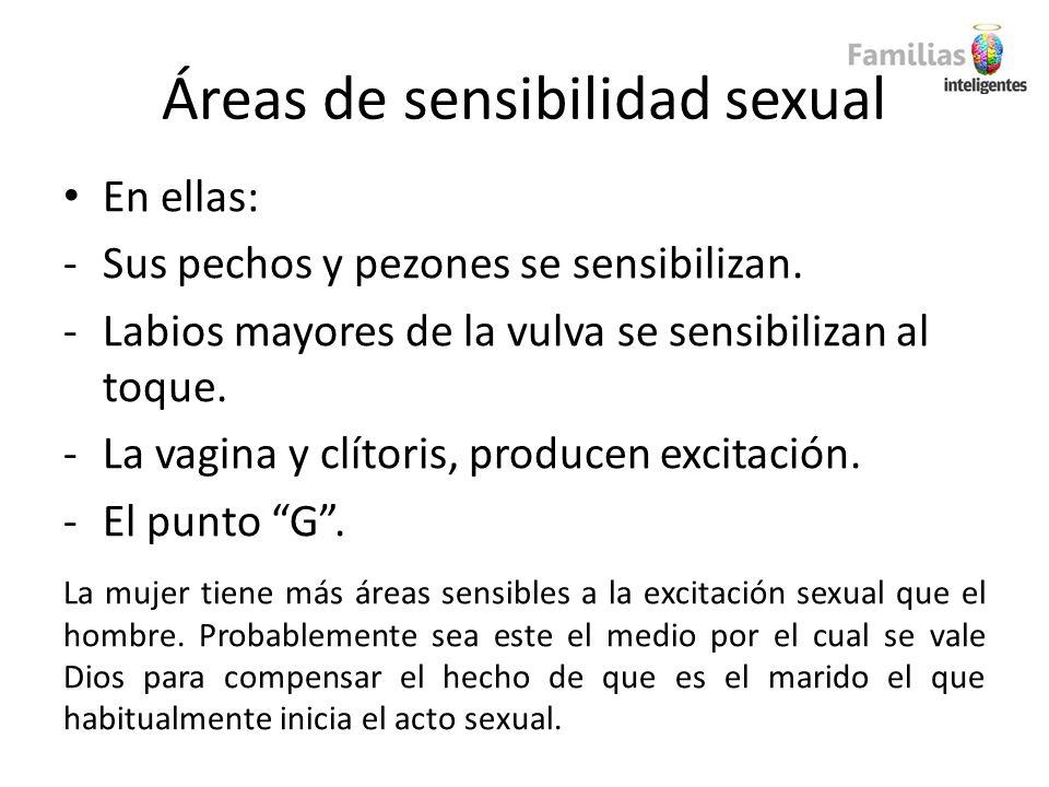 Áreas de sensibilidad sexual En ellas: -Sus pechos y pezones se sensibilizan. -Labios mayores de la vulva se sensibilizan al toque. -La vagina y clíto