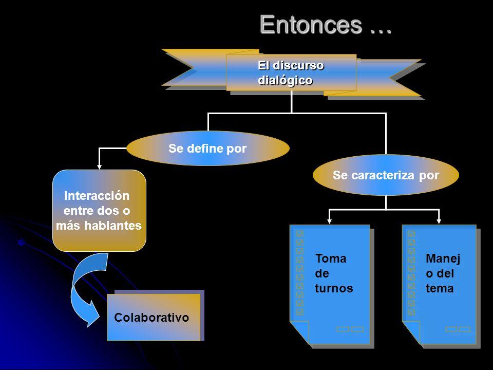 Tipos de discurso dialógico Si bien todos los discursos dialógicos presentan como estructura formal la toma de turnos y una organización del contenido en torno al manejo del tópico, existen interacciones comunicativas en que estos dos elementos adquieren características particulares.