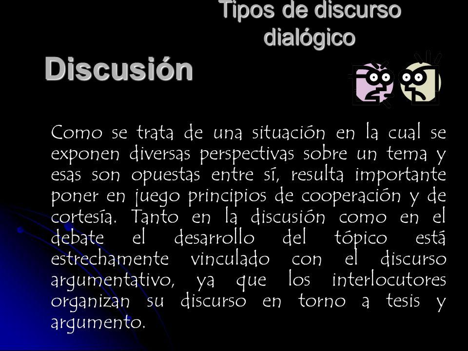 Tipos de discurso dialógico Discusión Como se trata de una situación en la cual se exponen diversas perspectivas sobre un tema y esas son opuestas ent