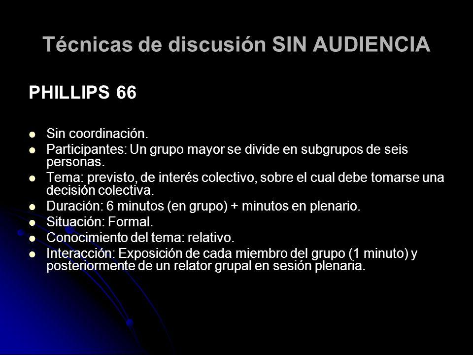 Técnicas de discusión SIN AUDIENCIA PEQUEÑO GRUPO DE DISCUSIÓN Con coordinación Participantes: grupo de hasta 15 personas.