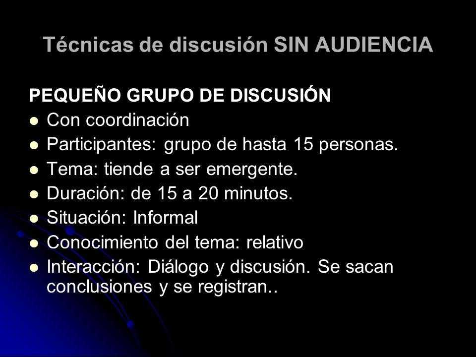 Técnicas de discusión SIN AUDIENCIA PEQUEÑO GRUPO DE DISCUSIÓN Con coordinación Participantes: grupo de hasta 15 personas. Tema: tiende a ser emergent