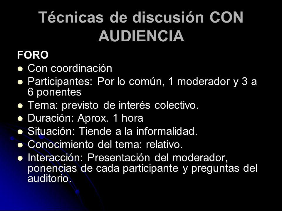 Técnicas de discusión CON AUDIENCIA FORO Con coordinación Participantes: Por lo común, 1 moderador y 3 a 6 ponentes Tema: previsto de interés colectiv