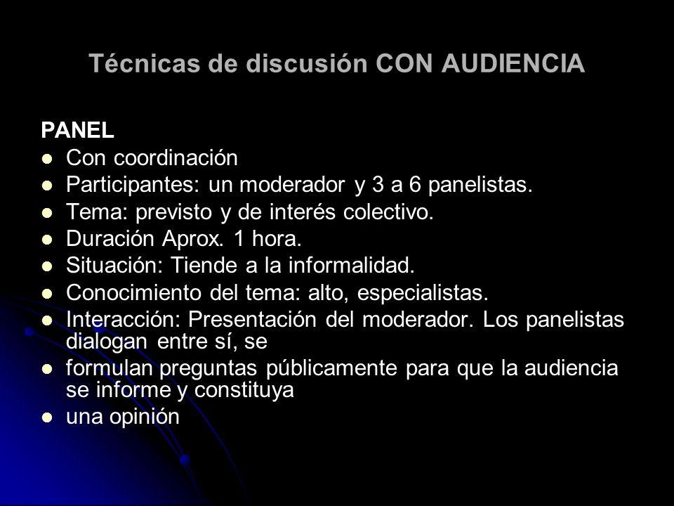 Técnicas de discusión CON AUDIENCIA PANEL Con coordinación Participantes: un moderador y 3 a 6 panelistas. Tema: previsto y de interés colectivo. Dura