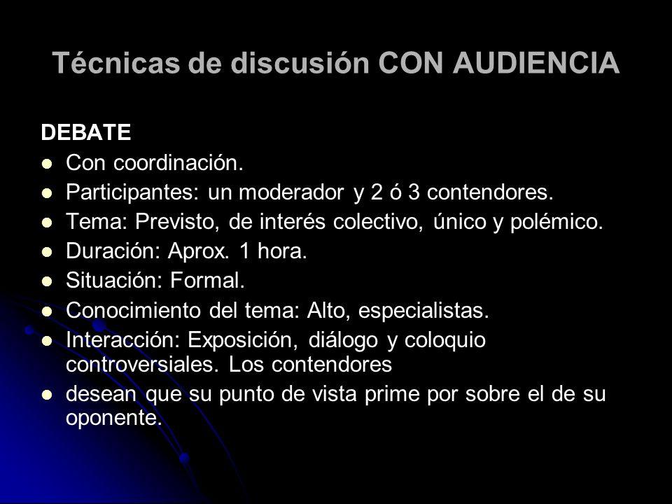 Técnicas de discusión CON AUDIENCIA DEBATE Con coordinación. Participantes: un moderador y 2 ó 3 contendores. Tema: Previsto, de interés colectivo, ún