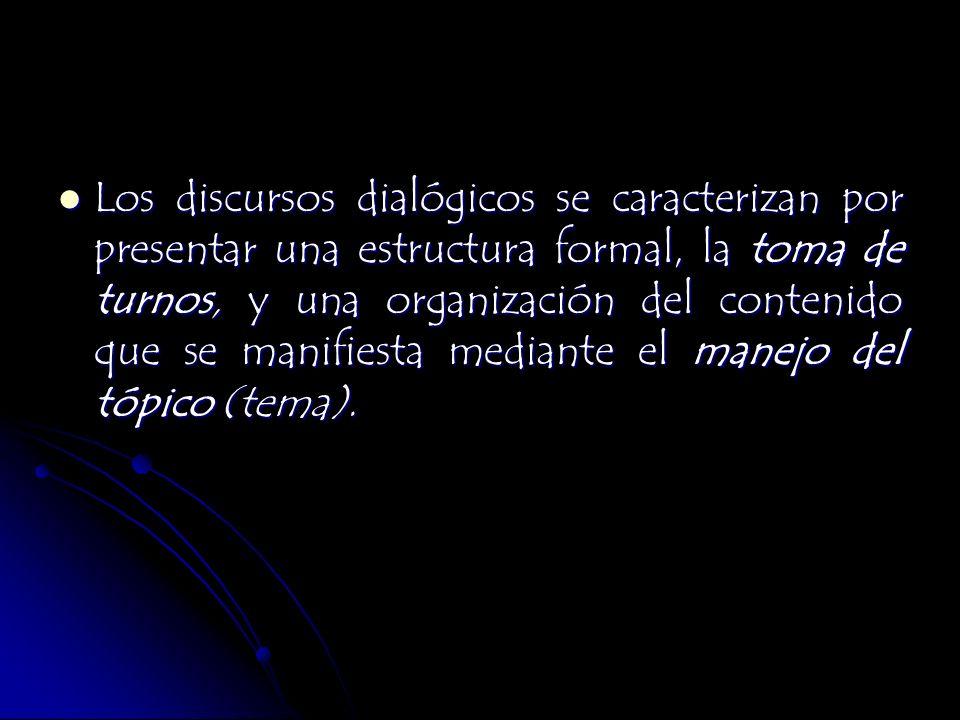 Los discursos dialógicos se caracterizan por presentar una estructura formal, la toma de turnos, y una organización del contenido que se manifiesta me