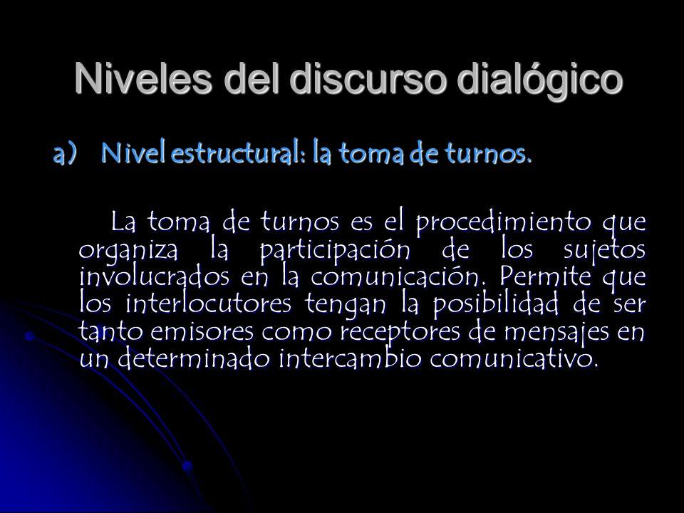 a) Nivel estructural: la toma de turnos. La toma de turnos es el procedimiento que organiza la participación de los sujetos involucrados en la comunic