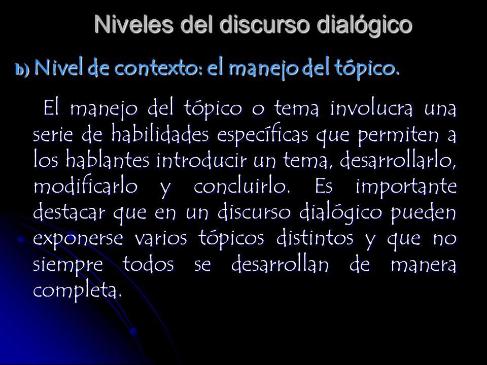 Niveles del discurso dialógico b) Nivel de contexto: el manejo del tópico. El manejo del tópico o tema involucra una serie de habilidades específicas