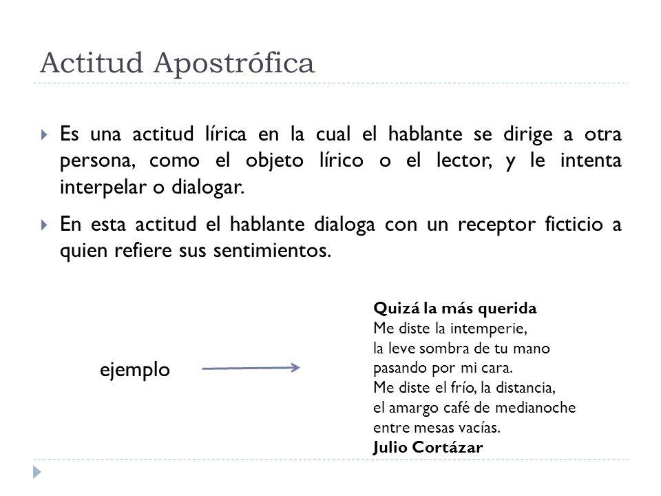 Actitud Apostrófica Es una actitud lírica en la cual el hablante se dirige a otra persona, como el objeto lírico o el lector, y le intenta interpelar