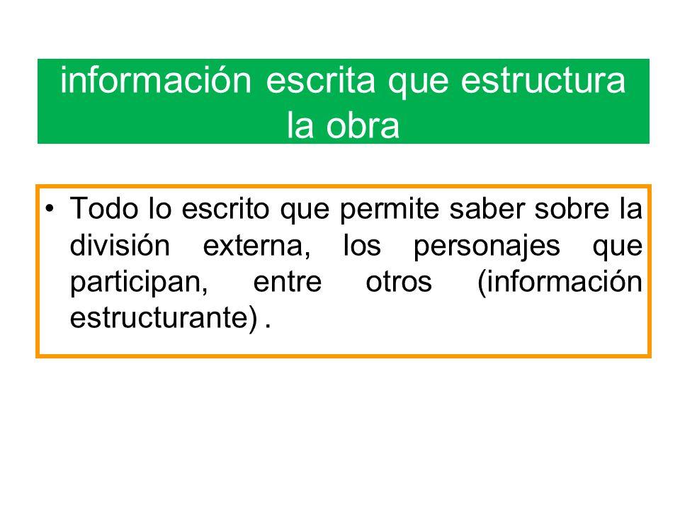 información escrita que estructura la obra Todo lo escrito que permite saber sobre la división externa, los personajes que participan, entre otros (información estructurante).