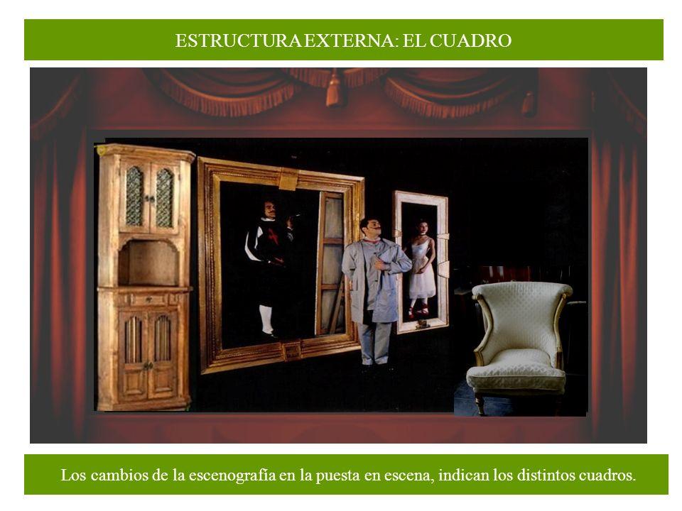 ESTRUCTURA EXTERNA: EL CUADRO División de la obra dramática en su forma externa, más breve que el acto.