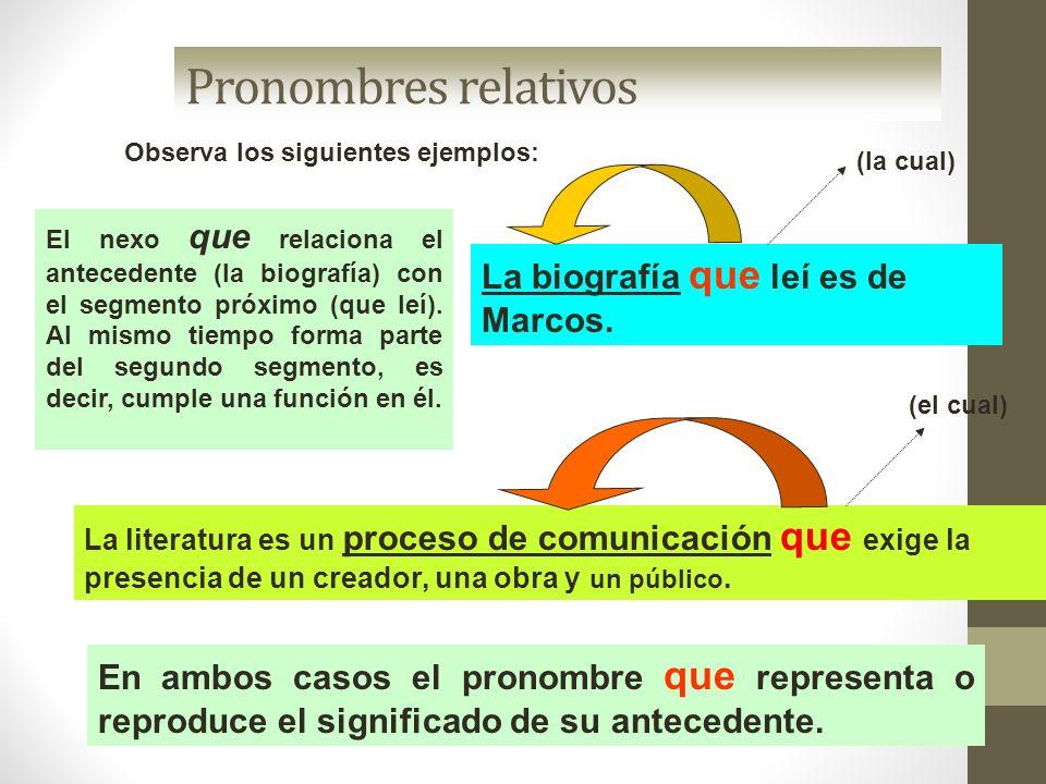 Pronombres relativos Observa los siguientes ejemplos: La literatura es un proceso de comunicación que exige la presencia de un creador, una obra y un
