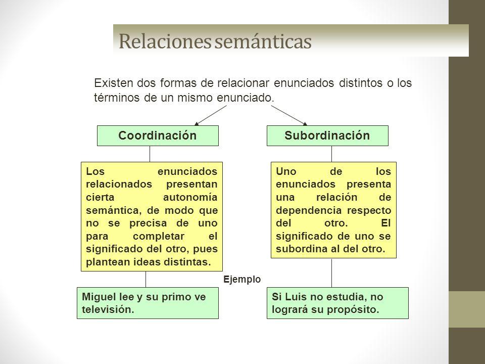 Tipos de relaciones semánticas Una importante función de los conectores es explicitar la relación semántica que se establece entre un enunciado y otro o entre elementos de un mismo enunciado.