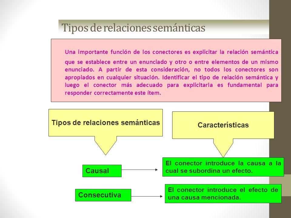 Tipos de relaciones semánticas Una importante función de los conectores es explicitar la relación semántica que se establece entre un enunciado y otro