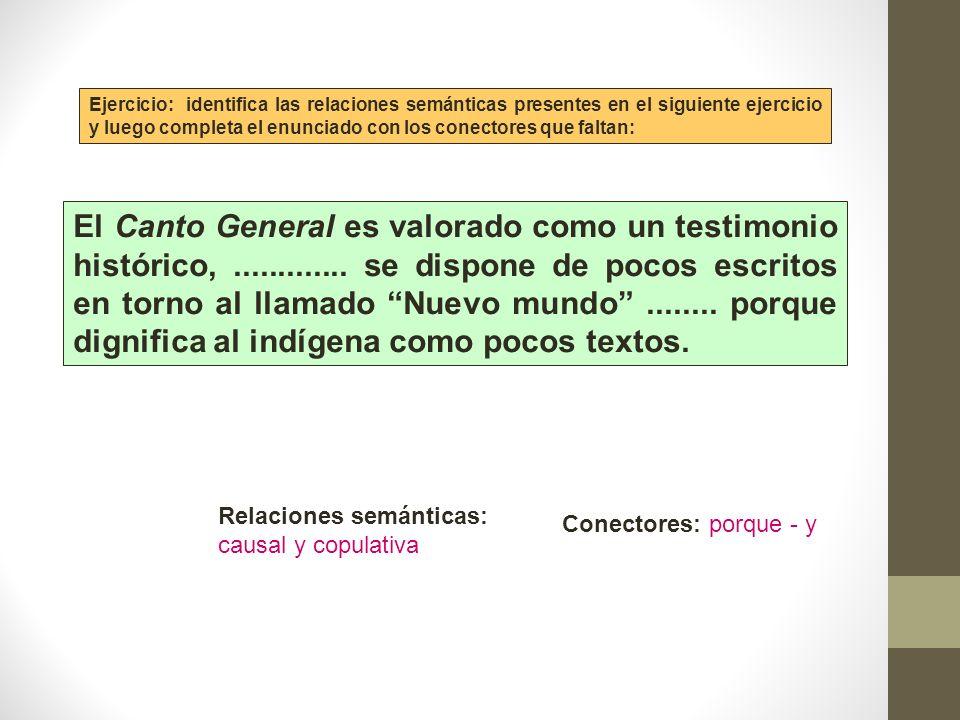 Ejercicio: identifica las relaciones semánticas presentes en el siguiente ejercicio y luego completa el enunciado con los conectores que faltan: El Ca