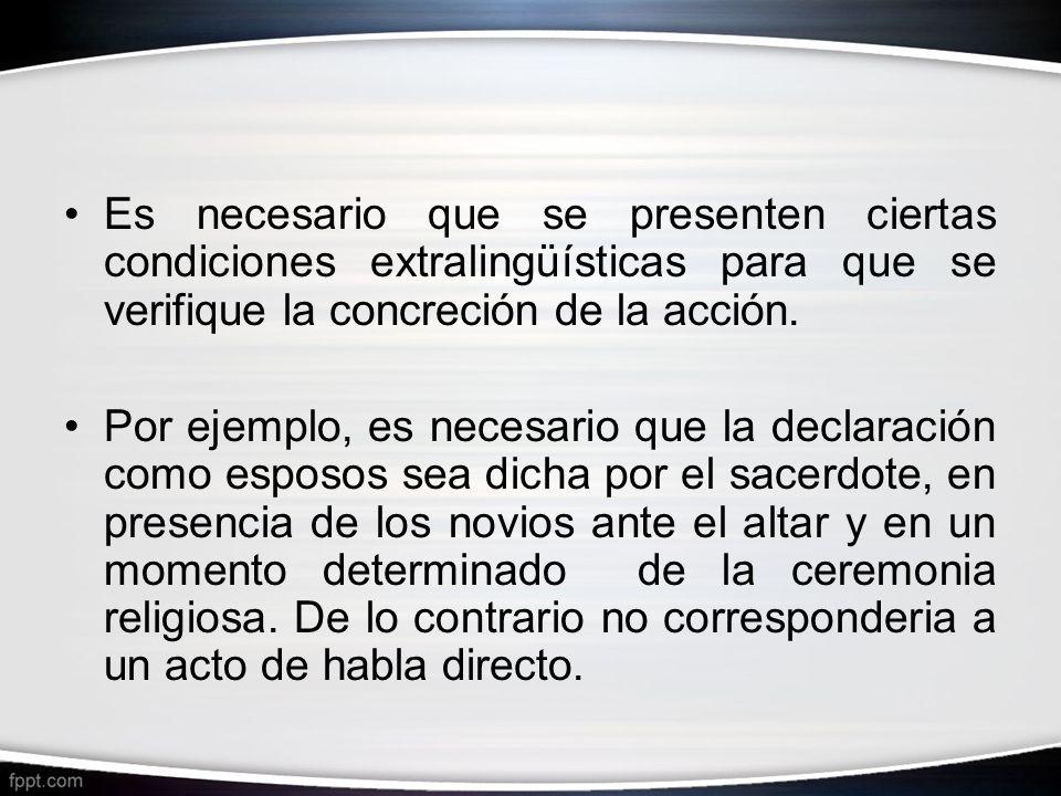 Es necesario que se presenten ciertas condiciones extralingüísticas para que se verifique la concreción de la acción. Por ejemplo, es necesario que la