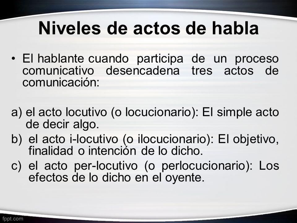 Niveles de actos de habla El hablante cuando participa de un proceso comunicativo desencadena tres actos de comunicación: a)el acto locutivo (o locuci