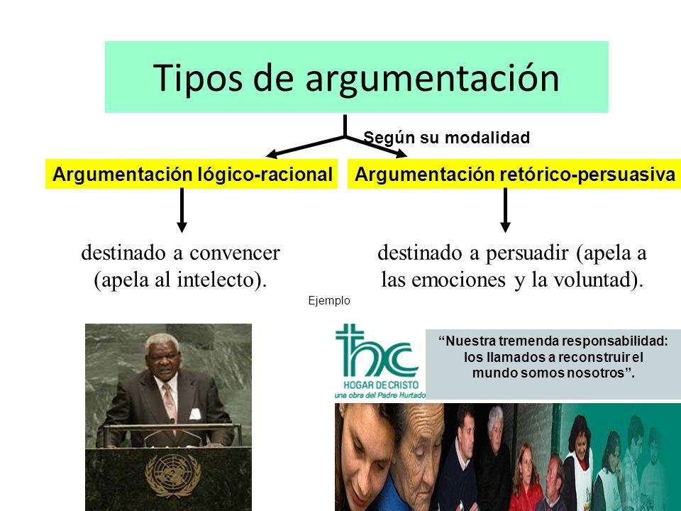 Tipos de argumentación Según su modalidad Ejemplo Argumentación lógico-racionalArgumentación retórico-persuasiva Nuestra tremenda responsabilidad: los