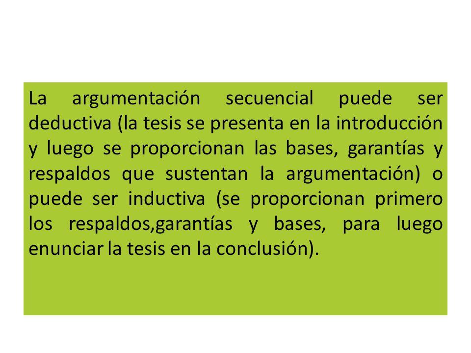 La argumentación secuencial puede ser deductiva (la tesis se presenta en la introducción y luego se proporcionan las bases, garantías y respaldos que