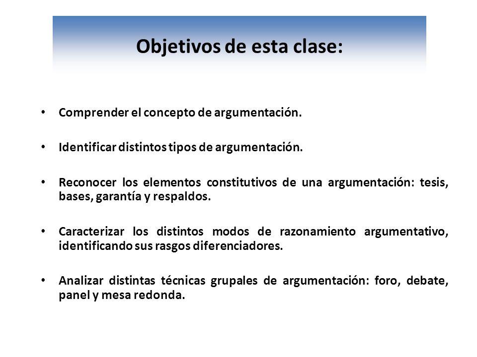 Objetivos de esta clase: Comprender el concepto de argumentación. Identificar distintos tipos de argumentación. Reconocer los elementos constitutivos