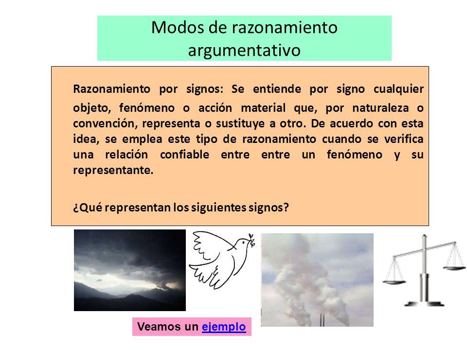 Modos de razonamiento argumentativo Razonamiento por signos: Se entiende por signo cualquier objeto, fenómeno o acción material que, por naturaleza o