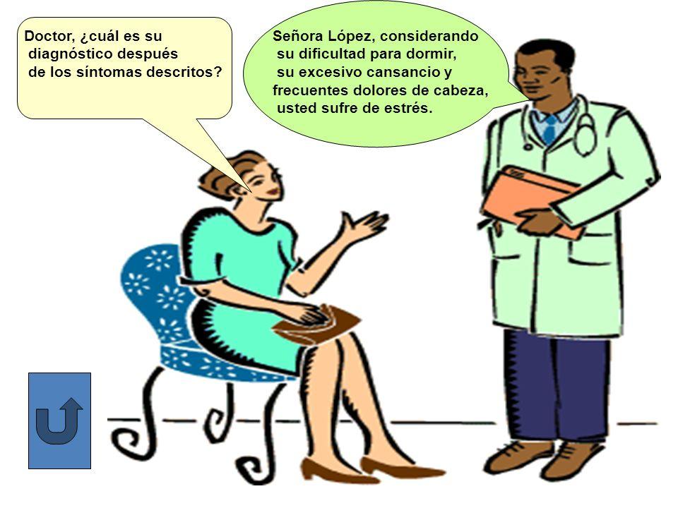 Doctor, ¿cuál es su diagnóstico después de los síntomas descritos? Señora López, considerando su dificultad para dormir, su excesivo cansancio y frecu