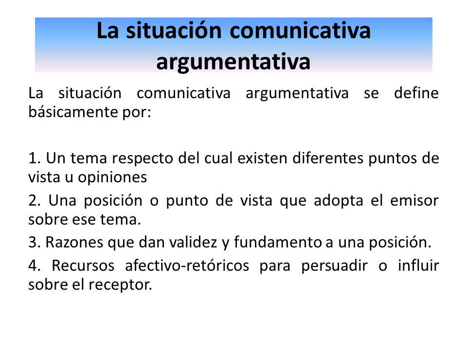 La situación comunicativa argumentativa La situación comunicativa argumentativa se define básicamente por: 1. Un tema respecto del cual existen difere