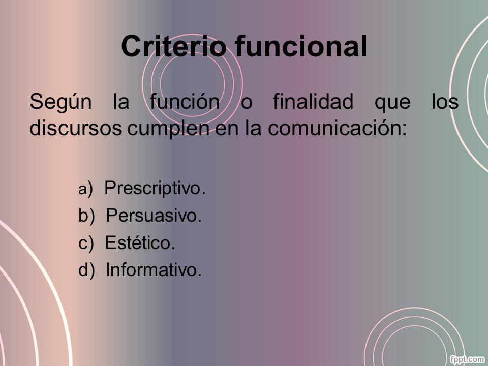 Criterio funcional Según la función o finalidad que los discursos cumplen en la comunicación: a ) Prescriptivo. b) Persuasivo. c) Estético. d) Informa
