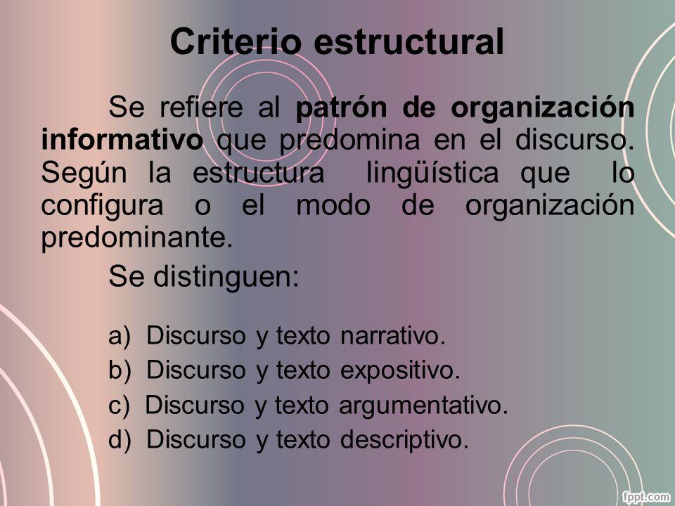Criterio estructural Se refiere al patrón de organización informativo que predomina en el discurso. Según la estructura lingüística que lo configura o
