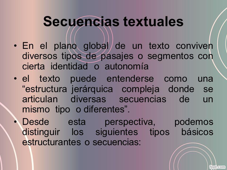 Secuencias textuales En el plano global de un texto conviven diversos tipos de pasajes o segmentos con cierta identidad o autonomía el texto puede ent