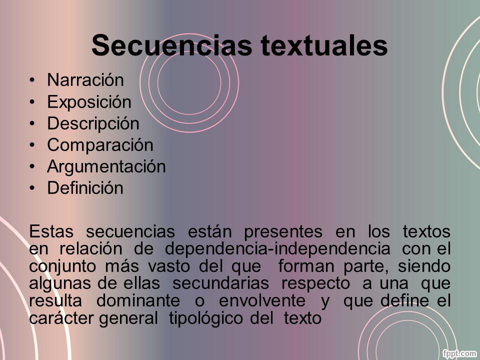 Secuencias textuales Narración Exposición Descripción Comparación Argumentación Definición Estas secuencias están presentes en los textos en relación