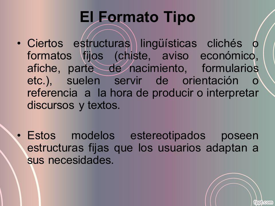 El Formato Tipo Ciertos estructuras lingüísticas clichés o formatos fijos (chiste, aviso económico, afiche, parte de nacimiento, formularios etc.), su