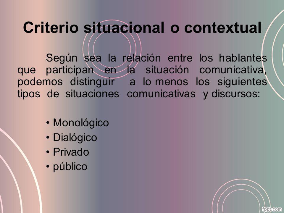 Criterio situacional o contextual Según sea la relación entre los hablantes que participan en la situación comunicativa, podemos distinguir a lo menos