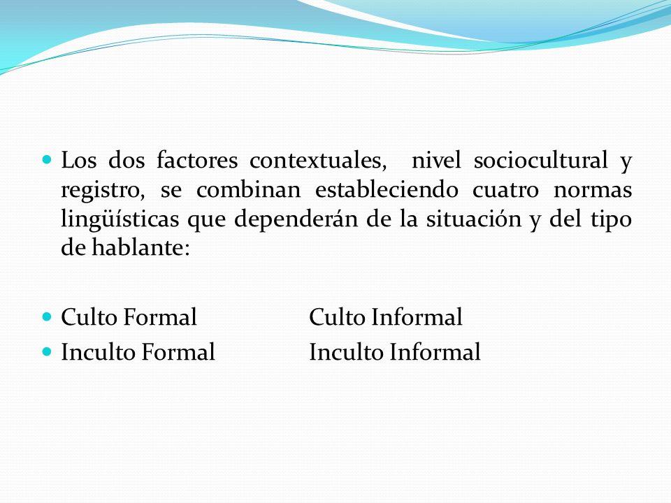 Los dos factores contextuales, nivel sociocultural y registro, se combinan estableciendo cuatro normas lingüísticas que dependerán de la situación y d