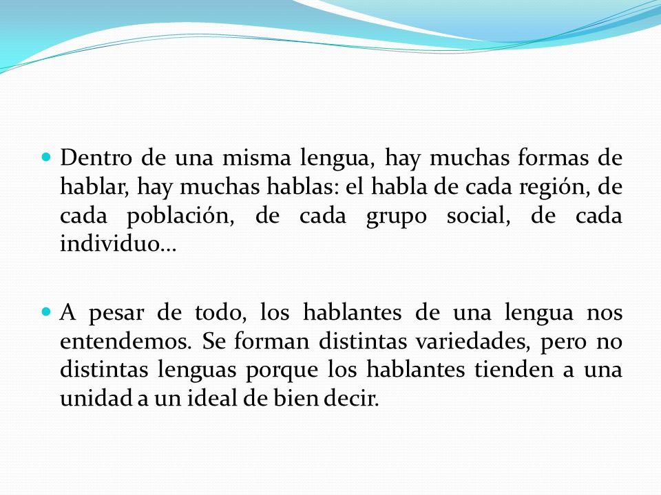 Dentro de una misma lengua, hay muchas formas de hablar, hay muchas hablas: el habla de cada región, de cada población, de cada grupo social, de cada