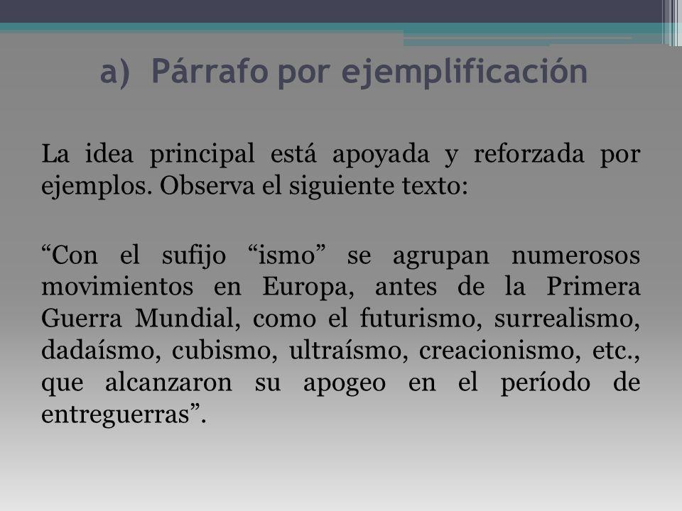 a) Párrafo por ejemplificación La idea principal está apoyada y reforzada por ejemplos. Observa el siguiente texto: Con el sufijo ismo se agrupan nume