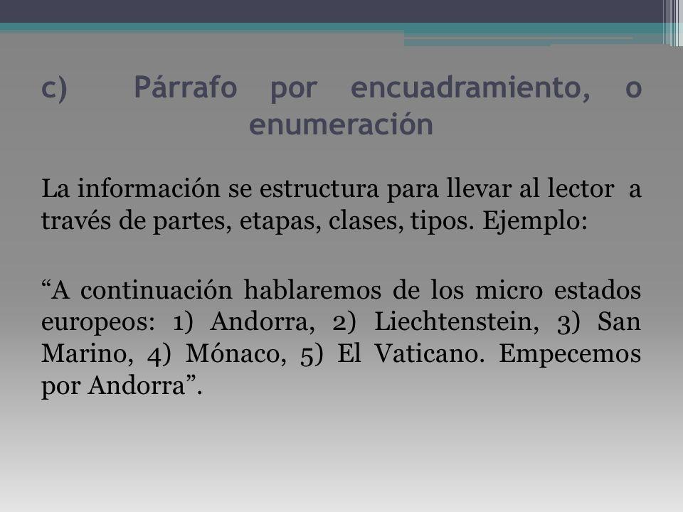 c) Párrafo por encuadramiento, o enumeración La información se estructura para llevar al lector a través de partes, etapas, clases, tipos. Ejemplo: A